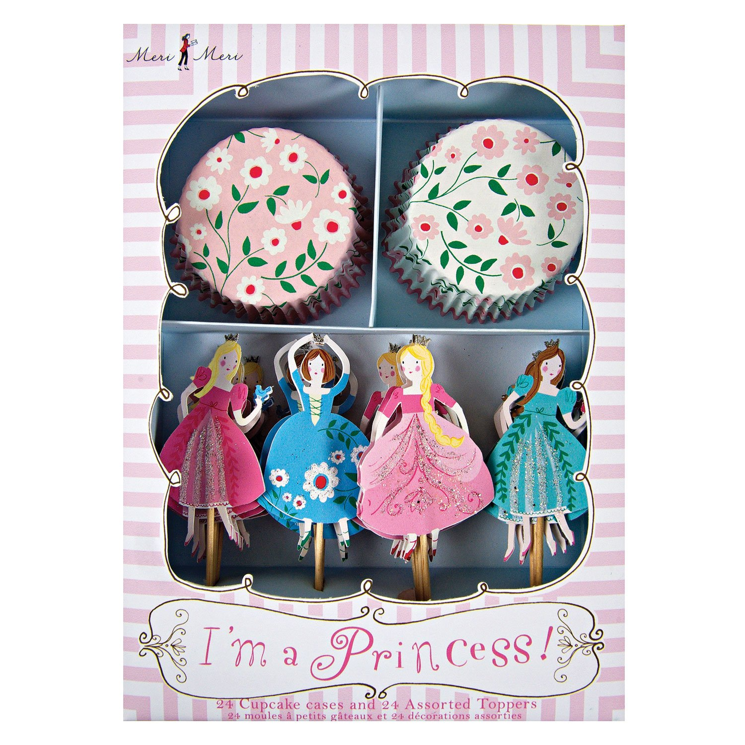 Party Princess Cupcake Kit with floral Paper Liners and Cake Toppers