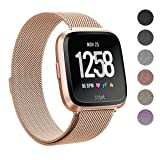 SWEES Metal Bands Compatible Fitbit Versa Smart Watch, Milanese Loop Stainless Steel Metal Replacement Accessories Small Large for Women Men, Black, Champagne, Colorful, Rose Gold, Silver, Grey (Color: Rose Gold, Tamaño: Small Size: 5.5