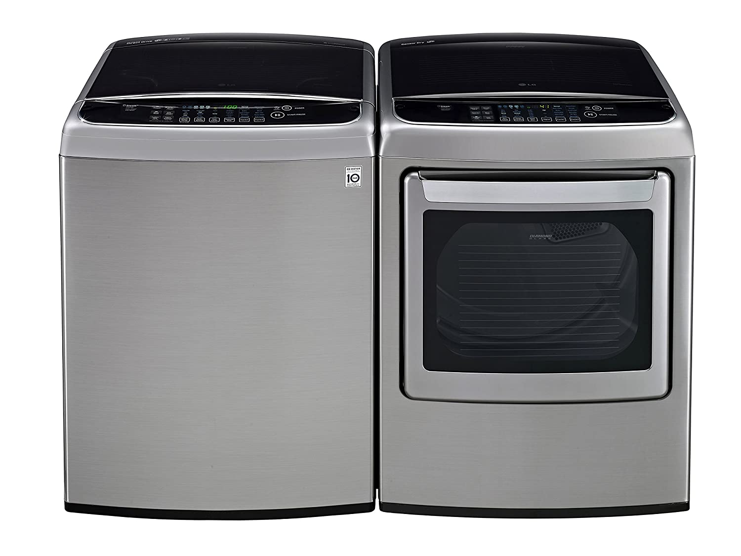LG POWER PAIR SPECIAL-Mega Capacity High Efficiency Top Load Laundry System with Innovative Easy Load Dryer*Graphite Steel*WT1801HVA_DLEY1701VE)