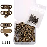 PGMJ 20 Pieces Thickened Solid Bronze Tone Antique Right Latch Hook Hasp Horn Lock Wood Jewelry Box Latch Hook Clasp and 80 Replacement Screws (Right Latch Buckle) (Color: Bronze, Tamaño: Full Size)