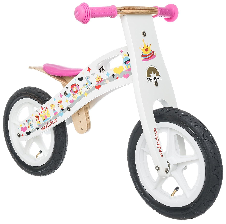 BIKESTAR® Premium Kinderlaufrad für modebewusste Prinzessinnen ab 3 Jahren ★ 12er Natur Holz Edition ★ Traumhaft Weiß jetzt kaufen