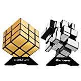 Ganowo Mirror Speed Cube Puzzle 3x3x3 Gold and Silver Mirror Magic Cube Set 2 Pack for Kids (Color: Gold Mirror+sliver Mirror)