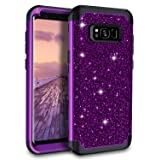 Lontect Compatible Galaxy S8 Plus Case Luxury Glitter Sparkle Bling Heavy Duty Hybrid Sturdy Armor High Impact Shockproof Protective Cover Case for Samsung Galaxy S8 Plus - Shiny Purple/Black (Color: Shiny Purple/Black)