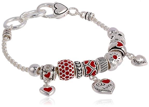 Silver-Tone Heart Charm Bracelet