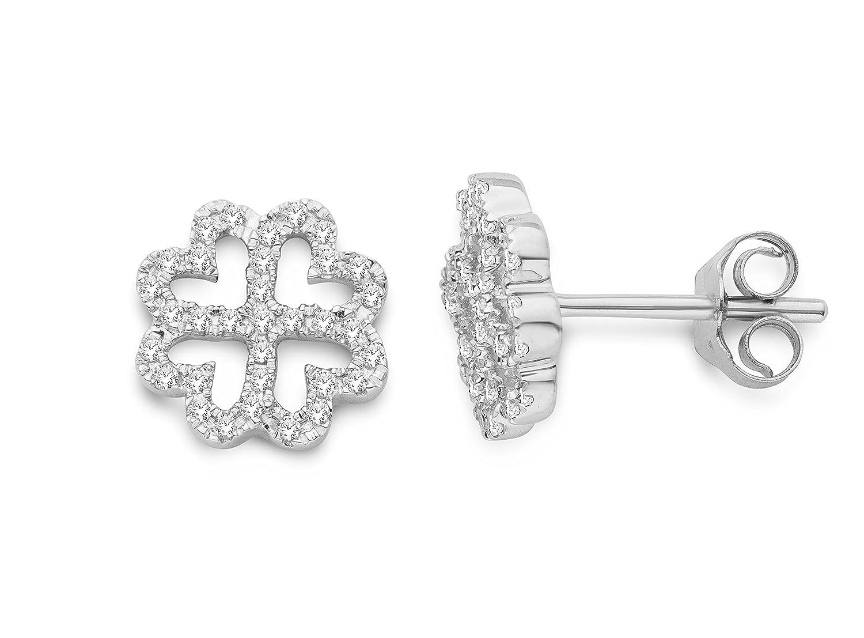 Miore Damen-Ohrsteckerr mit Brillanten 375 Weißgold rhodiniert Diamant (0.13 ct) weiß Rundschliff – MF9025E günstig