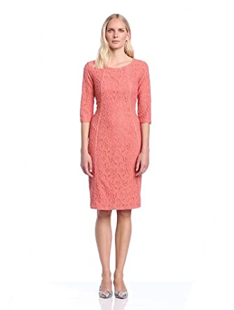 In Wear Women's Patrice 3/4 Sleeve Lace Dress, Pink (Rose Cache), Size 8