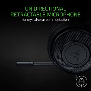 RAZER KRAKEN PRO V2: Lightweight Aluminum Headband - Retractable Mic - In-Line Remote - Gaming Headset Works with PC, PS4, Xbox One, Switch, & Mobile Devices - Black (Color: Black, Tamaño: 3.5mm)