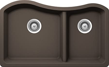 SCHOCK ASHN175U063 ASH Series CRISTALITE 70/30 Undermount Double Bowl Kitchen Sink, Mocha