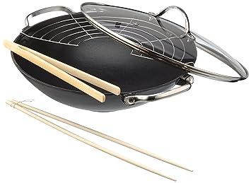 beka 14300734 lhasa wok wok avec couvercle en verre 1 grille grille 1 paire de. Black Bedroom Furniture Sets. Home Design Ideas