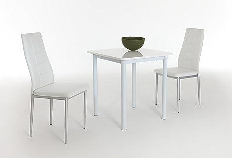 Single G Tisch Hglz weiß 2x Stuhl weiß
