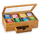 Bambusi Tea Storage Box Organizer Chest - 100% Bamboo Tea Bag Holder | 8 Storage Compartments Organizer with Drawer | Great Gift Idea (Color: Natural, Tamaño: 3.9 x 12.9 x 7.9 inches)