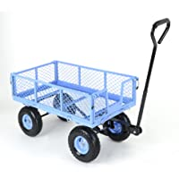 TEKRITE Heavy Duty 400lbs Capacity Lawn/Garden Utility Cart With Removable Side Meshes (Blue)