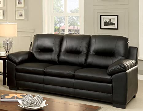 Furniture of America Stewart Leatherette Sofa, Black