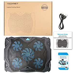 Laptop Cooling Pad, TeckNet USB Powered Silent Gaming Laptop Notebook Cooler Cooling Pad Stand with 5 Fans and Blue LED Lights for MacBook Pro, Fits 12-17 … (Color: Black, Tamaño: N11)