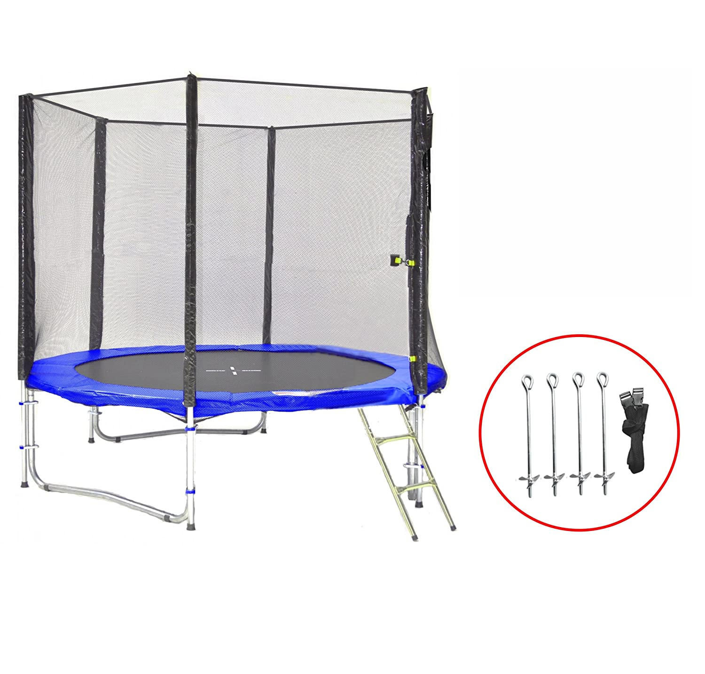 SB-245-BA Gartentrampolin 245cm incl. Netz, Leiter & Bodenanker Set , 150kg Traglast online bestellen
