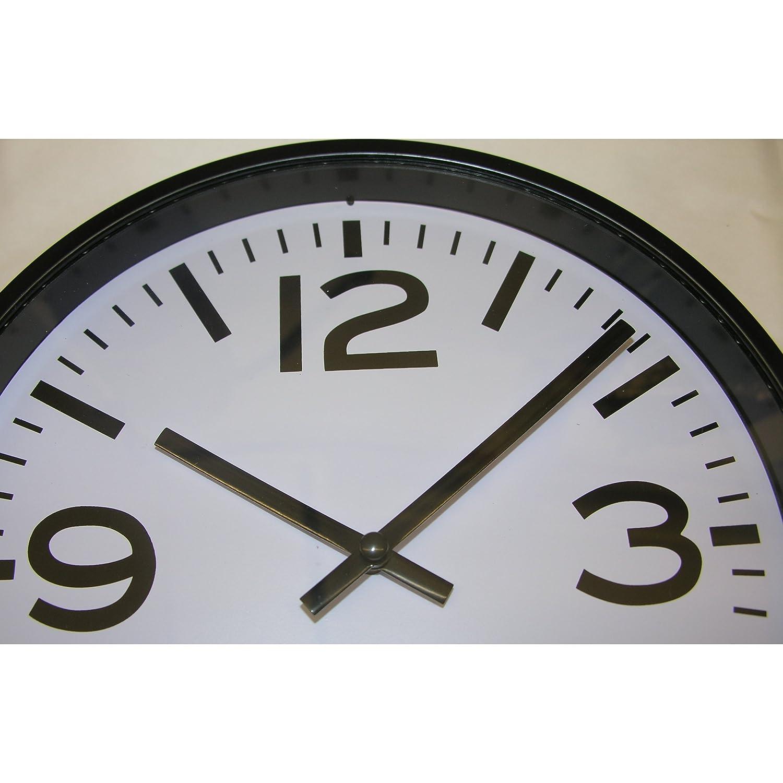 Moderne WANDUHR 23cm SCHWARZ Bahnhofsuhr Küchenuhr Bürouhr Uhr Clock Kinderzimmer günstig kaufen