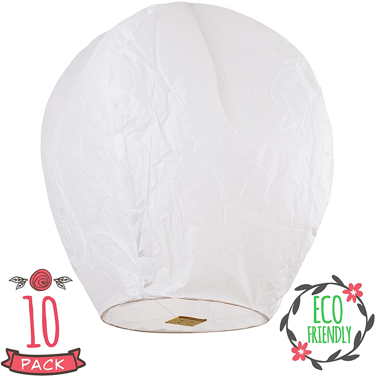 SKY HIGH Coral Entertainments chinese lanterns biodegradable and fully assambeled 10-pack White for weddings, birthdays, memorials and much more