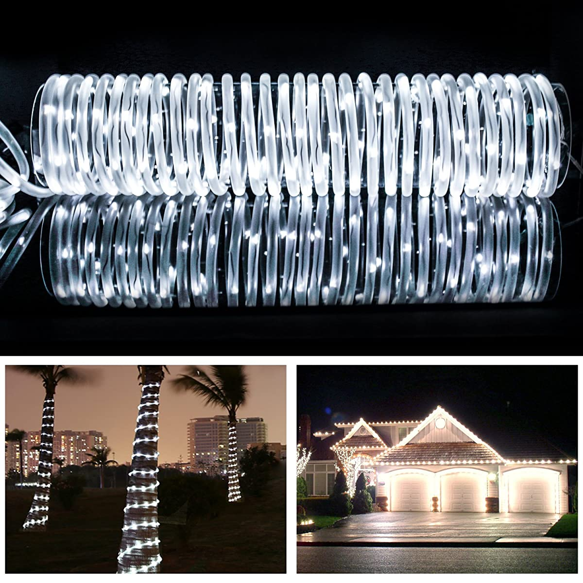 MEIKEE 33ft Dimmable Solar Rope Lights,100 LED,8 Lighting Modes, Light Sensor, Waterproof, Ideal for Decorations Christmas,Gardens, Lawn, Patio, Weddings, Parties(Daylight White)