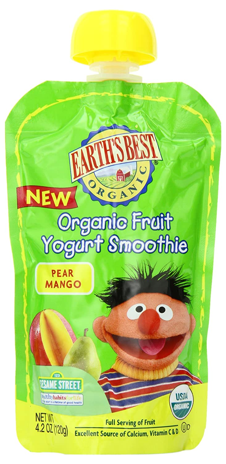 Earth's Best Organic Fruit Yogurt Smoothie, Pear & Mango, 4.2 Ounce Pouch (Pack of 12)