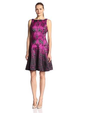 Julian Taylor Women's Sleeveless Printed Fit and Flare Dress, Raspberry Multi, 8