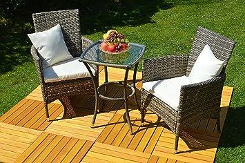 """'3Piezas–Conjunto de muebles de jardín """"VENEZIA Balcón Juego de ratán (mesa + 2sillones)"""