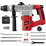 MPT 1 Inch SDS-plus 8.5 Amp Heavy Duty Rotary Hammer Drill,3 Function and Adjustabl Soft Grip Handle,Include 3 Drill Bits,Point and Flat Chisel with Case (Color: Red)
