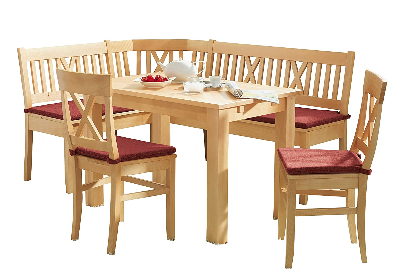 Schösswender Eckbankgruppe Linz in Buche massiv natur lackiert besteht aus Vierfußtisch, zwei Stühlen und einem kompletten Sitzkissensatz, Bezug Tiago rot