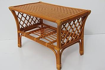 Makita Rattan Wicker Handmade Coffee Table (Colonial, Light Brown)