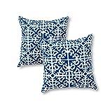 Greendale Home Fashions 17 in. Outdoor Accent Pillow (set of 2), Indigo (Color: Indigo, Tamaño: 17X17)