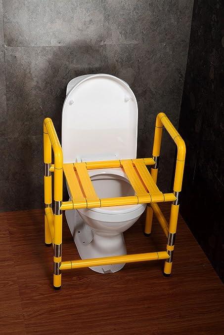 MDRW-Barandilla de seguridadBaño sin barreras con sillas de acero inoxidable, sillas viejas para discapacitados de doble uso silla 440 * 545 * 705 * 350,Amarillo
