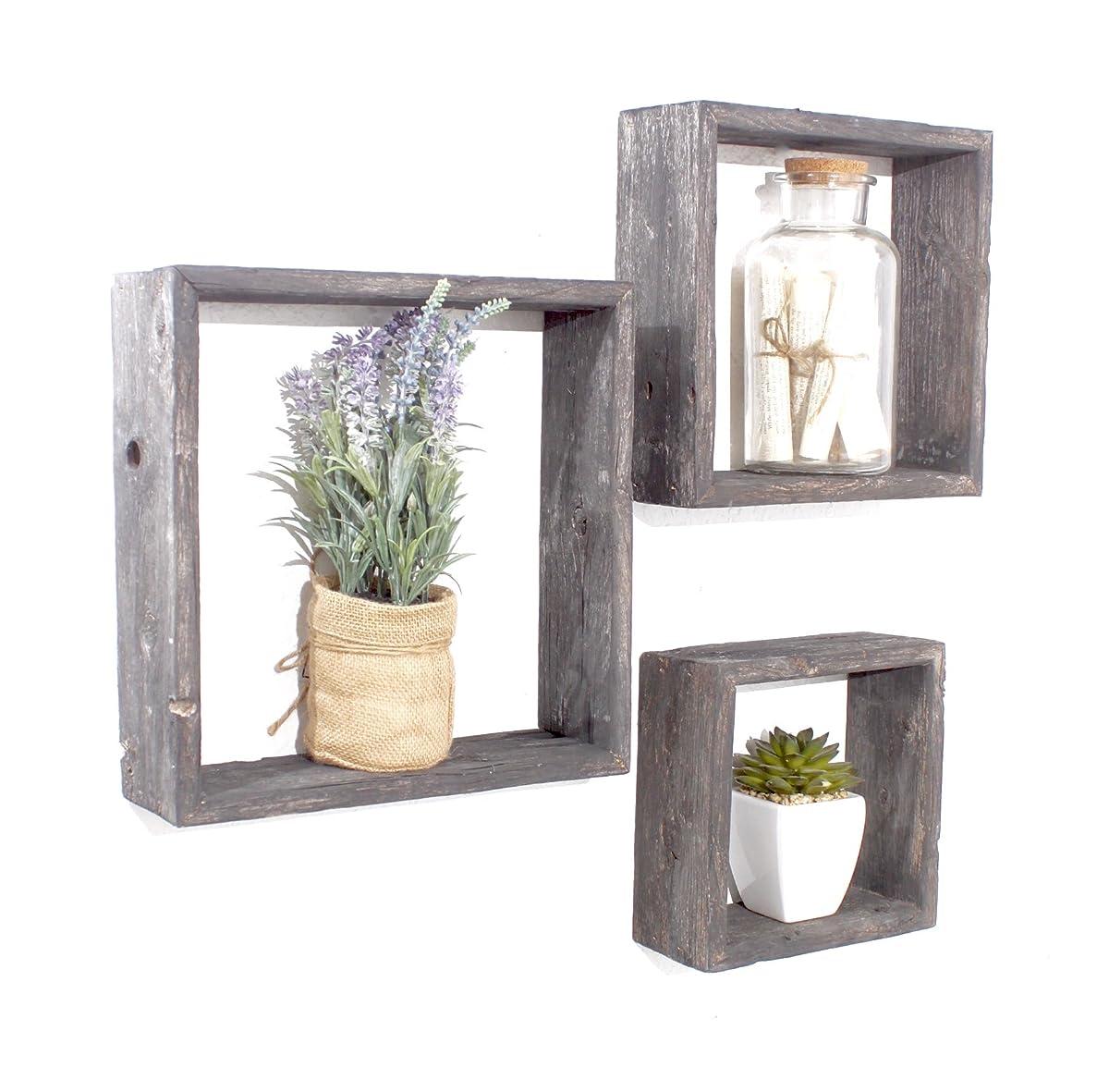 BarnwoodUSA Reclaimed Wooden Shelves - Set of 3 (8x8, 10x10, 12x12, Smoky Black)