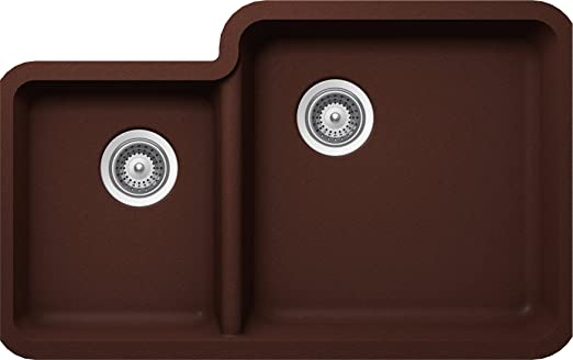 SCHOCK SOLN175U009 SOLIDO Series CRISTALITE 70/30 Undermount Double Bowl Kitchen Sink, Copper