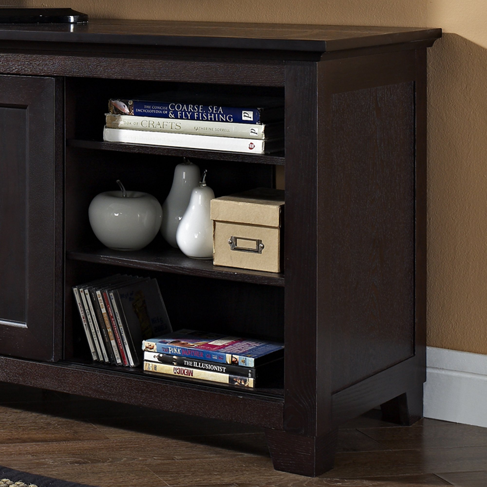 We Furniture Wood Tv Stand With Sliding Doors 70 Inch Espresso