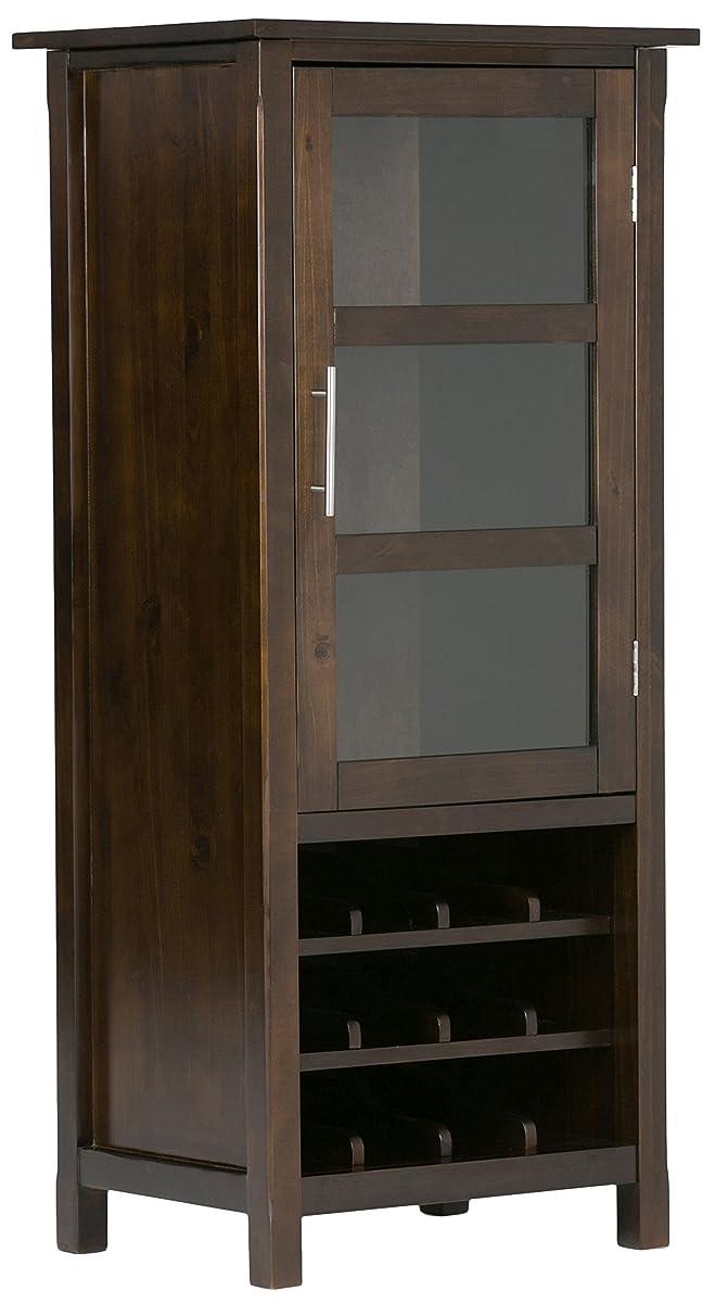 Simpli Home Avalon Solid Wood High Storage Wine Rack, Rich Tobacco Brown