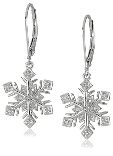 XPY-Sterling-Silver-Snowflake-Diamond-Accent-Dangle-Earrings