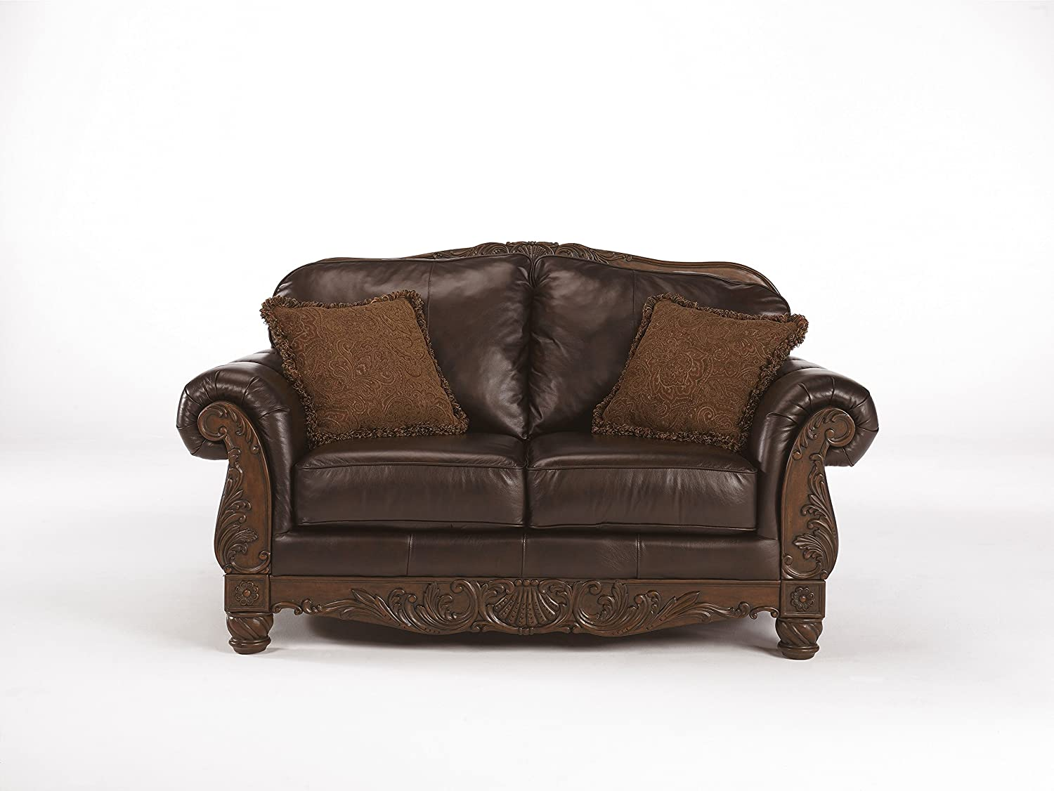 North Shore Top-grain Leather Dark Brown Color Old World Loveseat