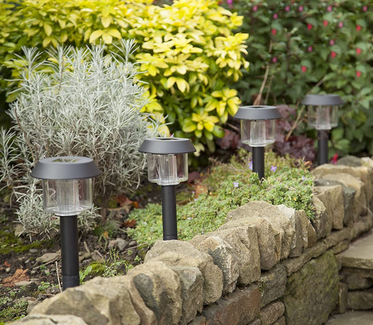 Solar-Powered LED Garden Lights, Lifetime replacement Guarantee, Perfect Neutral Design; Makes Garden Pathways & Flower Beds Look Great; Easy NO-WIRE Installation; All-Weather/Water-Resistant.