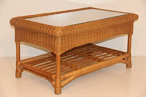 Jasmine Rattan Wicker Handmade Coffee Table with Glass Colonial