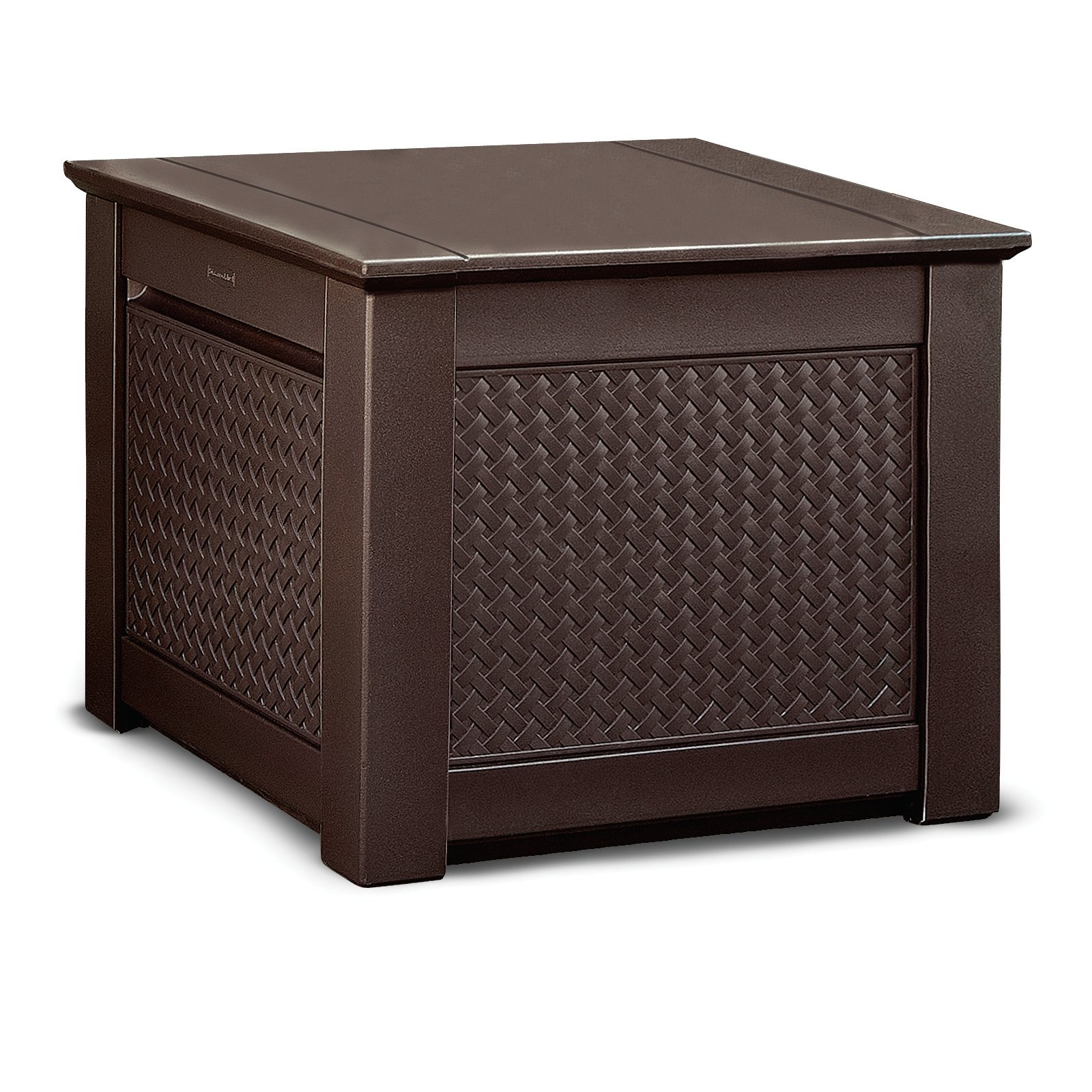 Rubbermaid Patio Chic Outdoor Storage Cube Dark Teak
