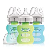 Dr. Brown's Options+ Wide-Neck Glass Baby Bottles in Silicone Sleeve, Mint/Green/Blue, 5 Ounce, 3 Count (Color: Mint/Green/Blue, Tamaño: 5 Ounce)