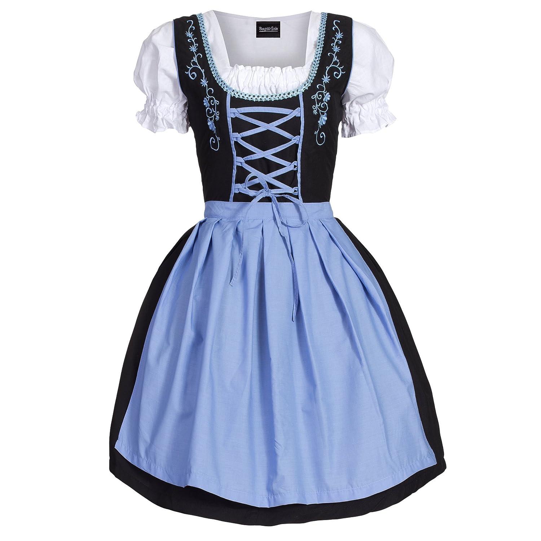 Dirndl 3 tlg.Trachtenkleid Kleid, Bluse, Schürze, Gr. 34-52 schwarz pink günstig online kaufen