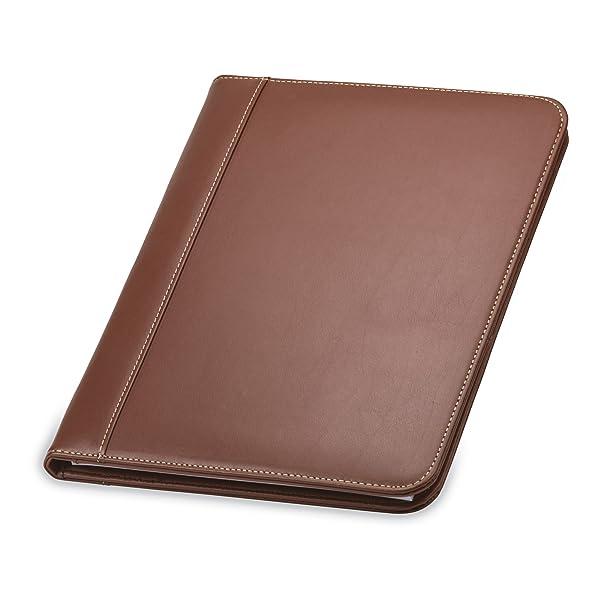 Samsill Contrast Stitch Leather Padfolio Portfolio Folder Business