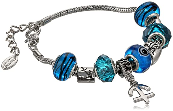 Sagittarius Murano Style Glass Beads and Charm Bracelet
