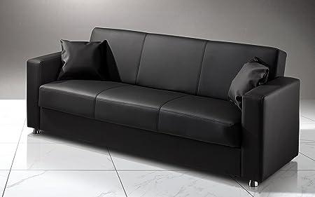 dafnedesign. com–Canapé lit inclinable avec coffre et deux coussins une place et demie en simili cuir noir. Canapé lit convertible 3places avec mécanisme clic clac et rembourrage à ressorts ensach&eacute