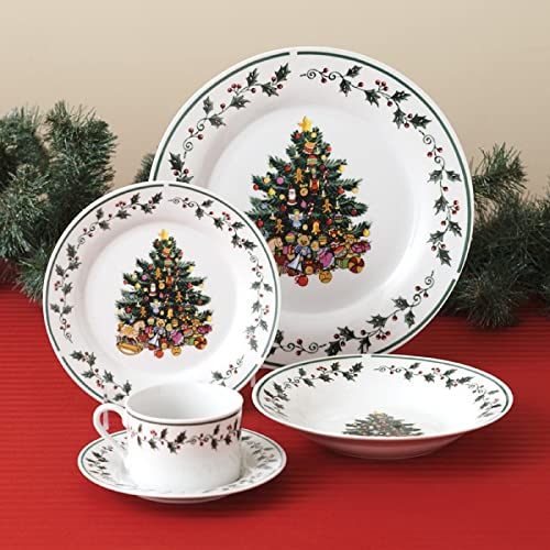 Gibson Christmas Tree Trimmings 20-Piece Dinnerware set & Christmas Holiday Melamine Plates - Christmas Gifts by Design
