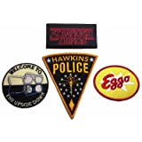 Stranger Things Set of 4 Embroidered Iron On Patches (Color: multi-color, Tamaño: 3 1/2