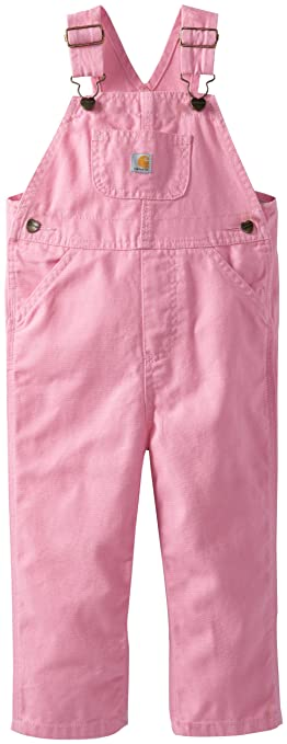 Amazon.com: Carhartt Little Girls' Washed Miscrosanded Canvas Bib Overall, Pink, 5: Clothing