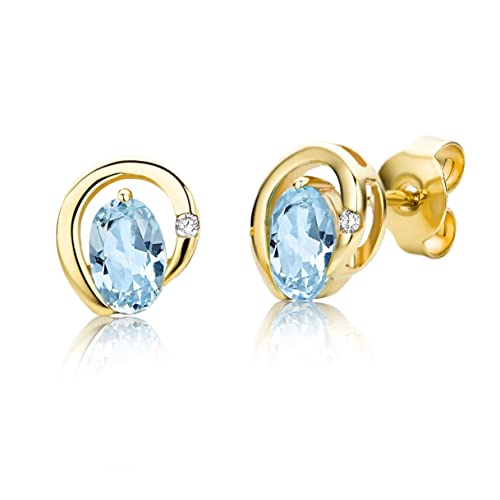Miore 9ct Yellow Gold Blue Topaz and Diamond Stud Earrings MH9085E