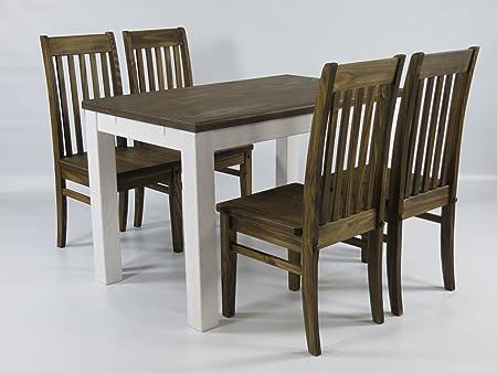 Sitzgruppe Garnitur mit Esstisch 120x73cm weiss / Tischplatte Eiche antik + 4 Stuhle Klassic Holz Pinie massiv in Eiche antik