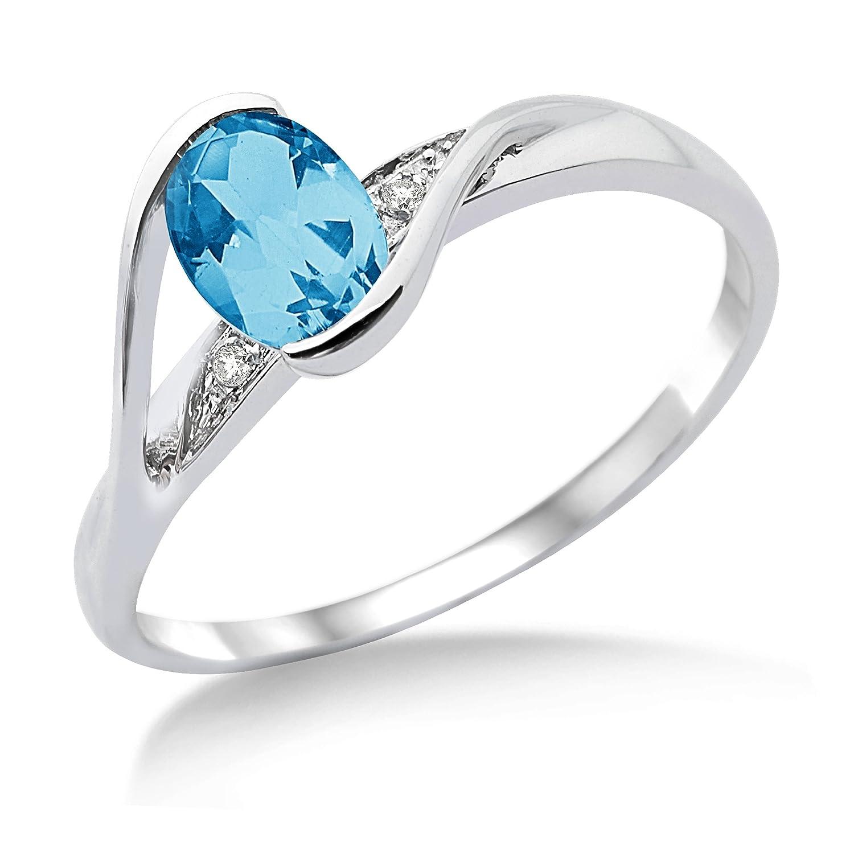 Miore Damen-Ring 375 Weißgold Blau Topas und Brillanten MT021BTR